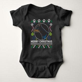 Body Para Bebê Camisola feia do Natal da raça do cão do Pinscher