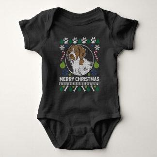 Body Para Bebê Camisola feia do Natal da raça do cão do Spaniel