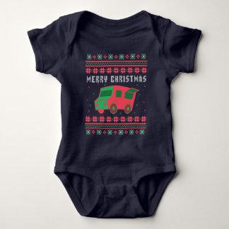 Body Para Bebê Camisola feia do Natal do caminhão da comida
