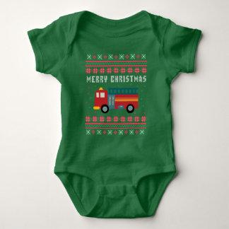 Body Para Bebê Camisola feia do Natal do carro de bombeiros