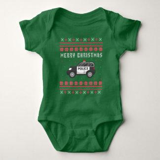 Body Para Bebê Camisola feia do Natal do carro de polícia