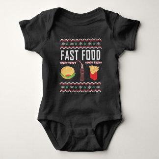 Body Para Bebê Camisola feia do Natal do fast food