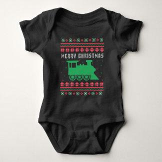 Body Para Bebê Camisola feia locomotiva do Natal do trem