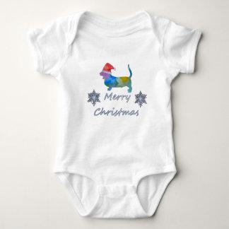 Body Para Bebê Cão de Basset do Natal