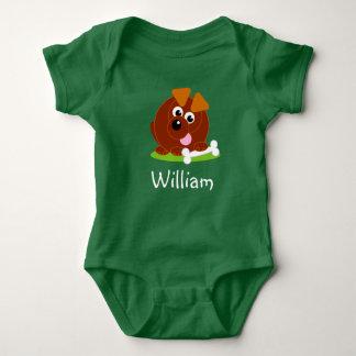 Body Para Bebê Cão de filhote de cachorro bonito do marrom do