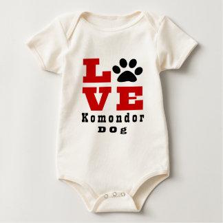 Body Para Bebê Cão Designes de Komondor do amor