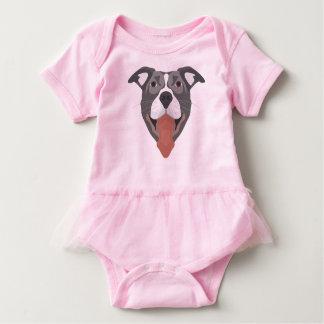 Body Para Bebê Cão Pitbull de sorriso da ilustração