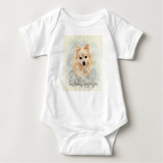 Body Para Bebê Cão pomeranian peluches bonito