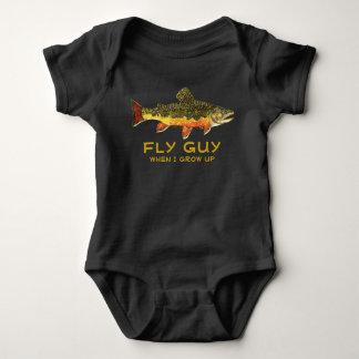 Body Para Bebê Cara cómico da mosca da pesca da truta do bebê