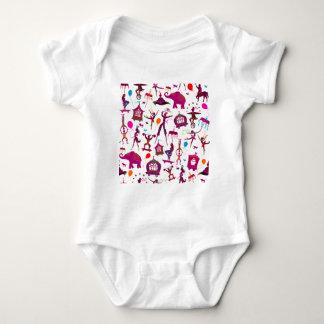 Body Para Bebê caráteres coloridos do circo no branco
