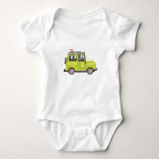 Body Para Bebê Carro verde do safari do suv. Vetor colorido legal