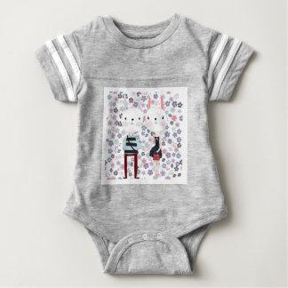 Body Para Bebê Casal bonito do coelho do coelho do vintage no