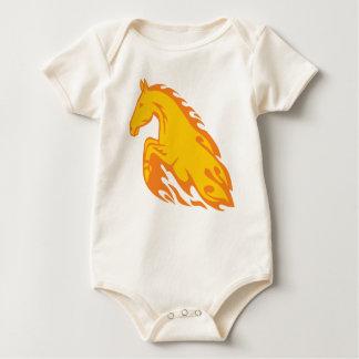 Body Para Bebê Cavalo ateado fogo chamativo da chama