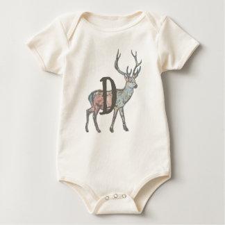 Body Para Bebê Cervos com letra D