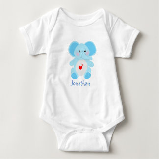 Body Para Bebê Chá de fraldas adorável do elefante dos azuis