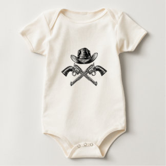 Body Para Bebê Chapéu de vaqueiro e armas cruzadas