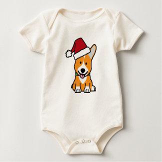 Body Para Bebê Chapéu do papai noel do Natal de Galês do Pembroke