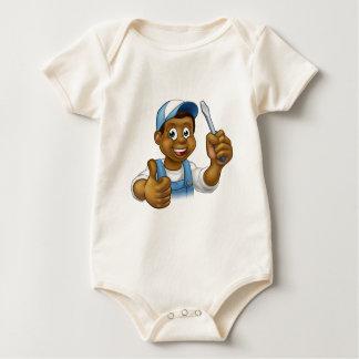 Body Para Bebê Chave de fenda preta do trabalhador manual do