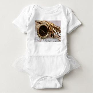Body Para Bebê Chaves de Notenblatt do brilho do ouro da música