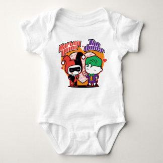 Body Para Bebê Chibi Harley Quinn & corações do palhaço de Chibi