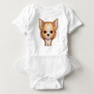 Body Para Bebê Chihuahua bege e branca de cabelos compridos