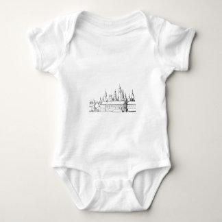 Body Para Bebê cidade fabulosa. trabalhos de arte. preto e branco