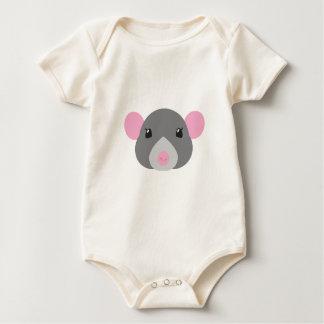 Body Para Bebê cinza da cara do rato da menina