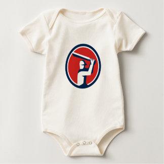 Body Para Bebê Círculo da batedura do jogador do grilo retro