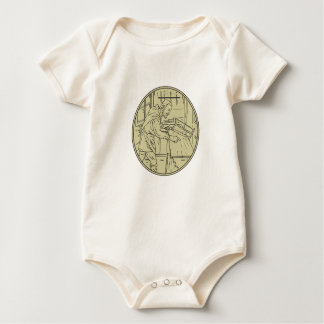 Body Para Bebê Círculo de madeira do Sawing medieval do