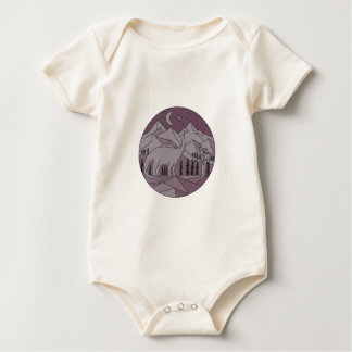 Body Para Bebê Círculo mono L da lua da montanha do Brontosaurus