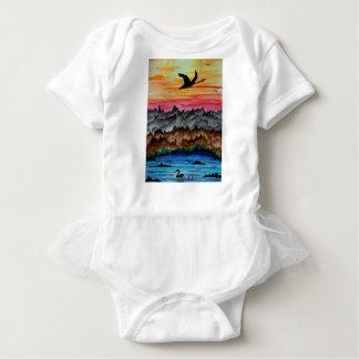 Body Para Bebê Cisnes pretas no por do sol