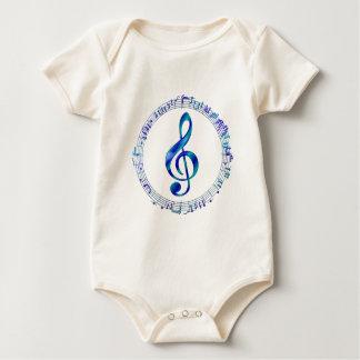 Body Para Bebê Clef de triplo azul com notas da música