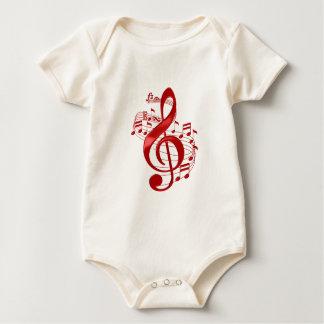 Body Para Bebê Clef de triplo vermelho com notas de fluxo da