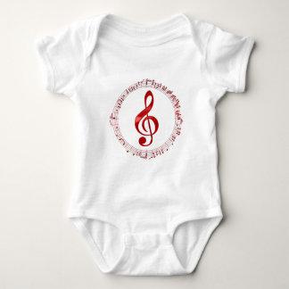 Body Para Bebê Clef de triplo vermelho em notas da música