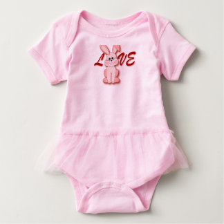 Body Para Bebê Coelho cor-de-rosa feliz da lupulagem para o