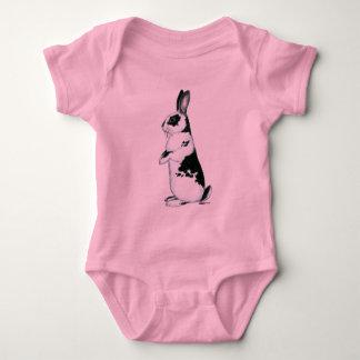 Body Para Bebê Coelho:  Preto e branco