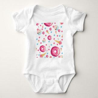 Body Para Bebê Colagem cor-de-rosa da rosquinha