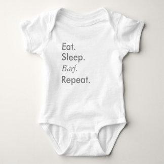 "Body Para Bebê ""Coma, durma, repita"" a série - Bodysuit do branco"
