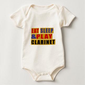 Body Para Bebê Coma o CLARINETE do sono e do jogo