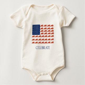 Body Para Bebê Comemore a lagosta da bandeira americana