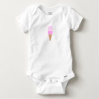 Body Para Bebê Cone dobro do sorvete da colher - rosa