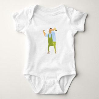 Body Para Bebê Construtor com martelo e unhas no canteiro de