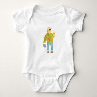 Body Para Bebê Construtor com pincel e balde na construção