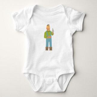Body Para Bebê Construtor com tijolo e Trowel no canteiro de