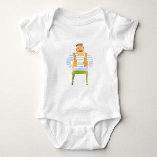 Body Para Bebê Construtor no boné no canteiro de obras