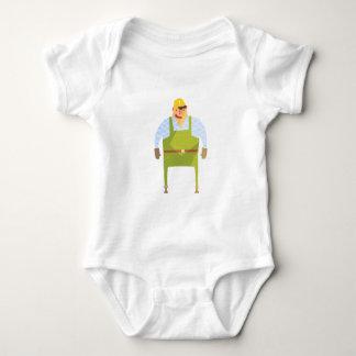 Body Para Bebê Construtor no capacete de segurança no canteiro de