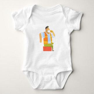 Body Para Bebê Construtor que come o almoço no canteiro de obras