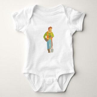 Body Para Bebê Construtor que inclina-se na pá no canteiro de