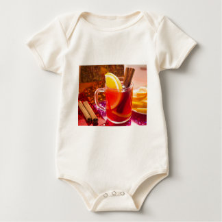Body Para Bebê Copo transparente do chá com citrino, canela