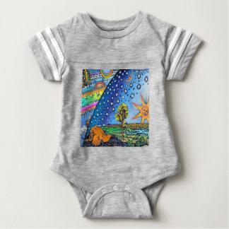 Body Para Bebê COR lisa do quadrado do design da terra do Woodcut